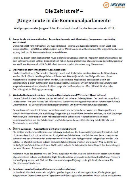 Wahlprogramm der Jungen Union Osnabrück-Land